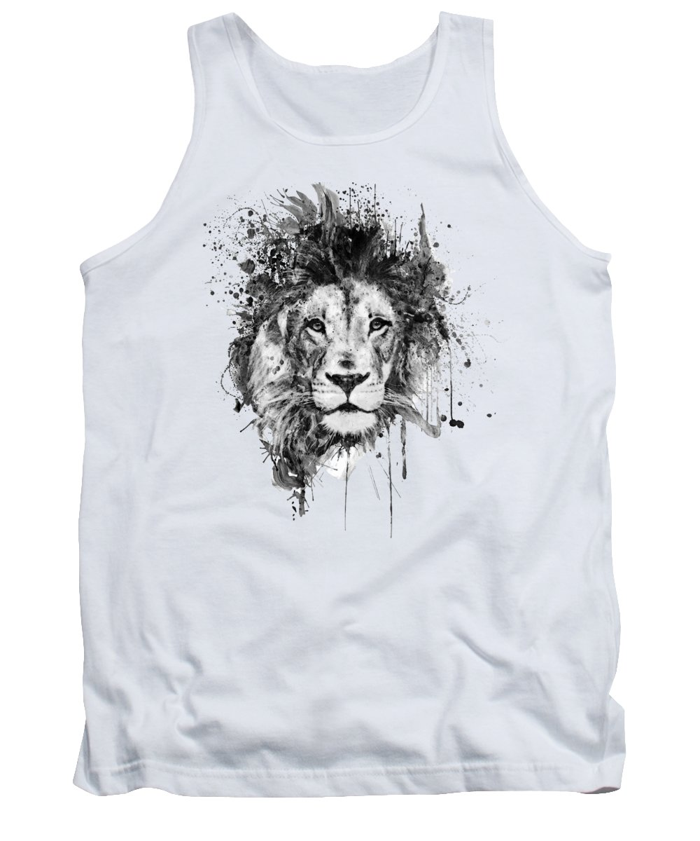 Splatters Tank Top featuring the painting Splattered Lion Black And White by Marian Voicu