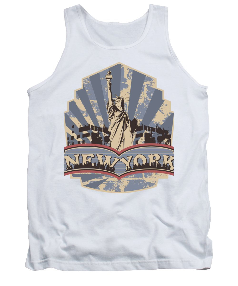 Military Tank Top featuring the digital art Statue of Liberty New York by Jacob Zelazny