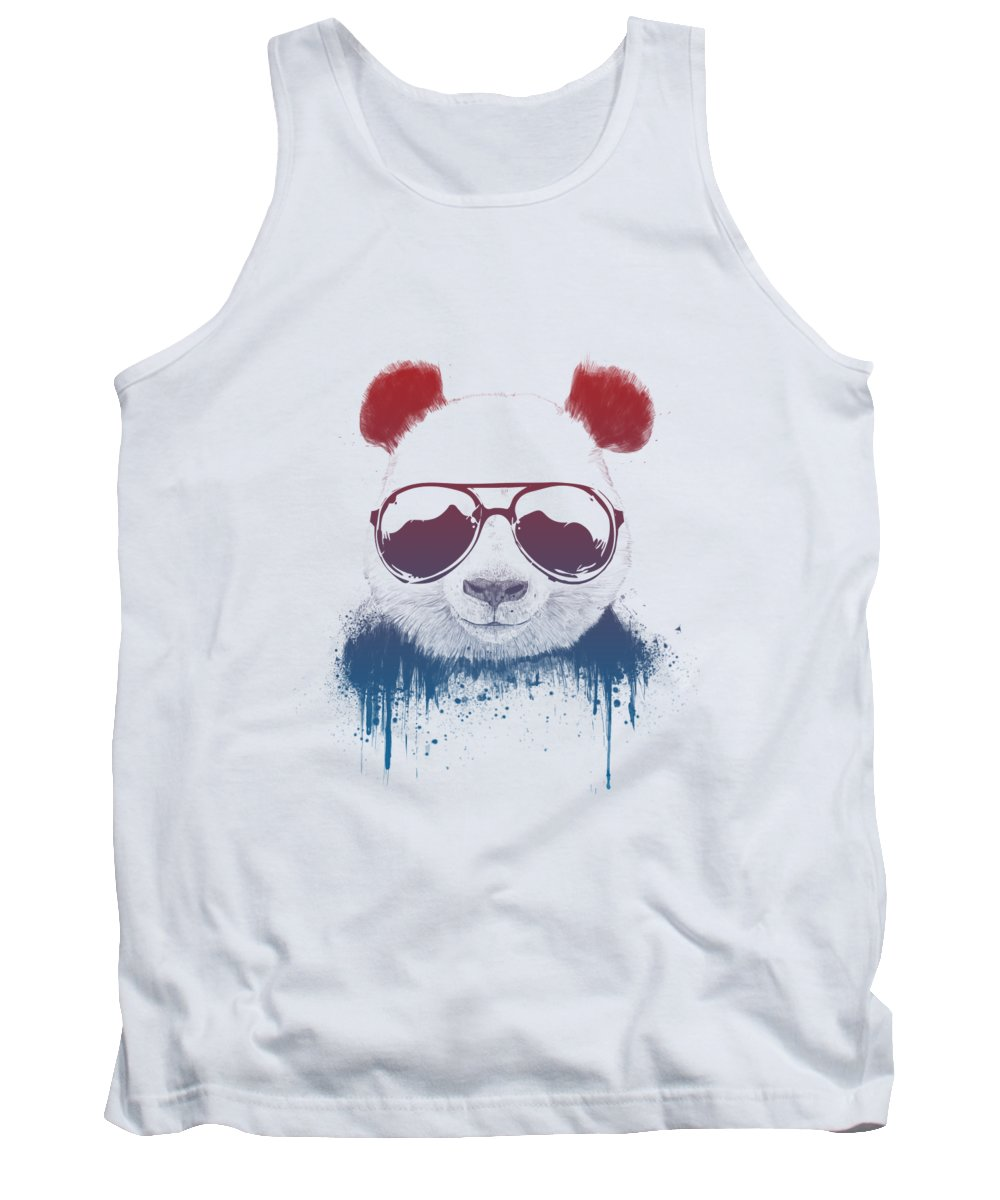 Panda Tank Top featuring the drawing Stay Cool II by Balazs Solti