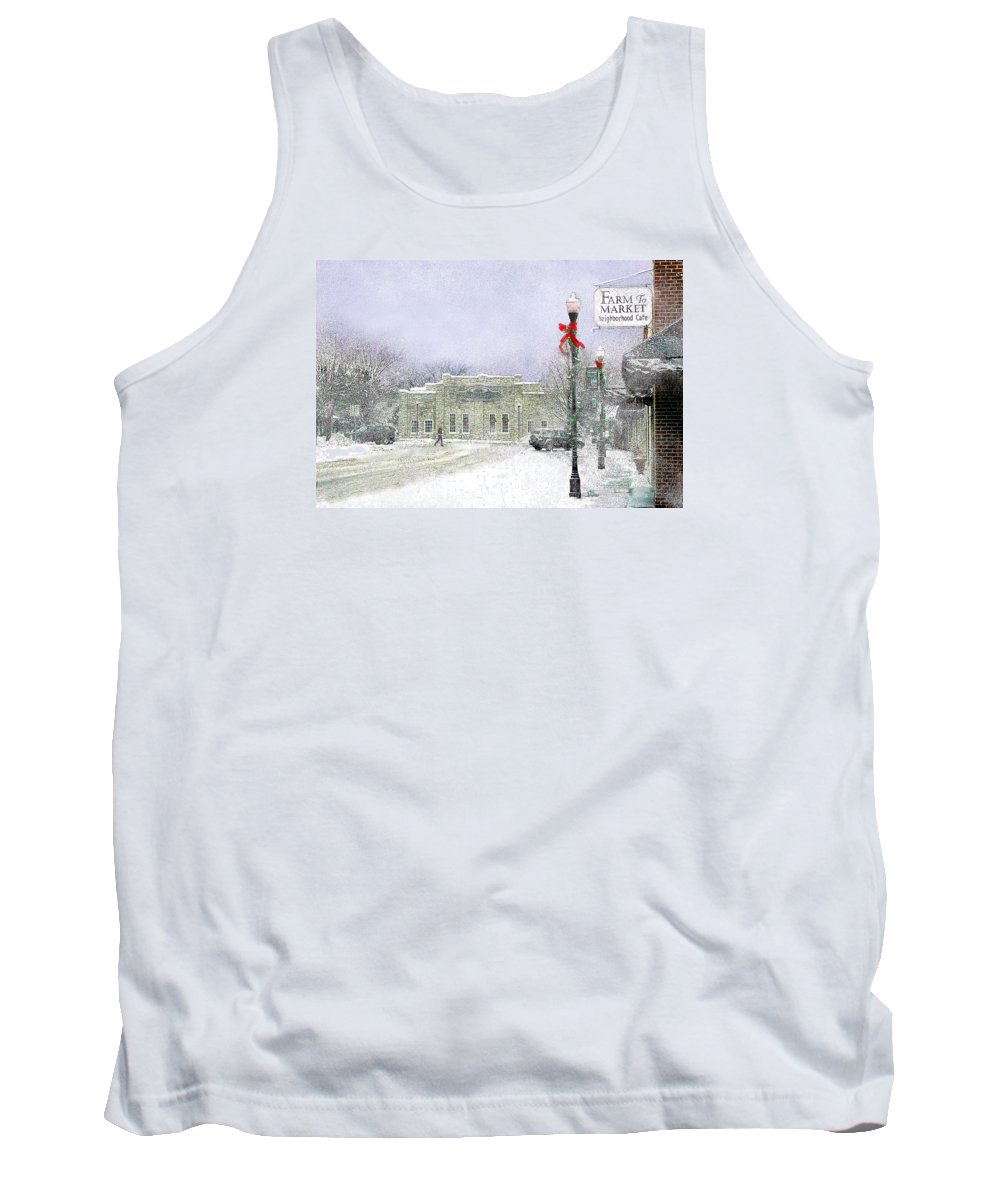 Snow Scene Tank Top featuring the photograph Strang Car Barn in Winter by Steve Karol