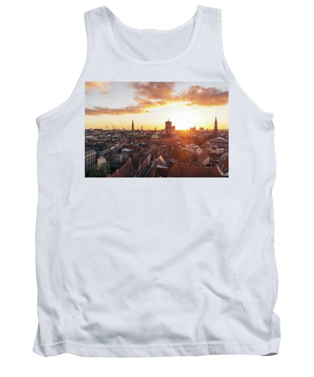 City Tank Top featuring the photograph Sunset above Copenhagen by Hannes Roeckel