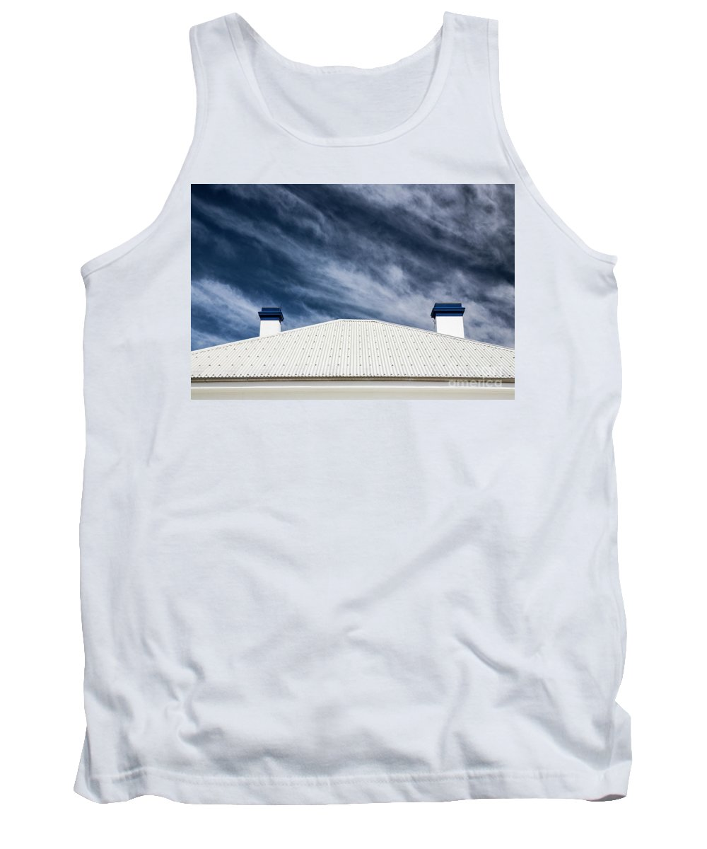 Tin Roof Tank Top featuring the photograph Tin roof and chimneys by Sheila Smart Fine Art Photography