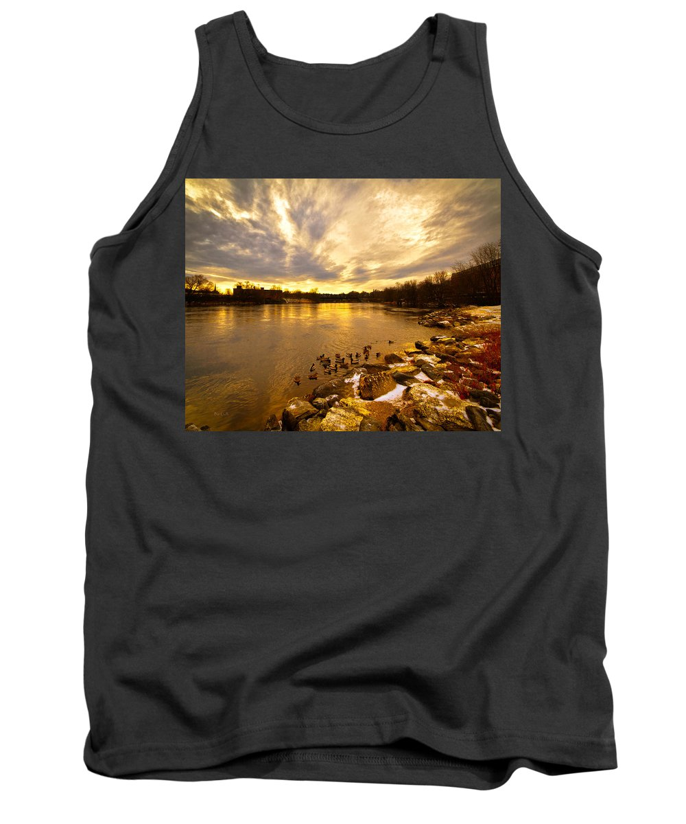 Androscoggin River Tank Top featuring the photograph Androscoggin River Between Lewiston And Auburn by Bob Orsillo