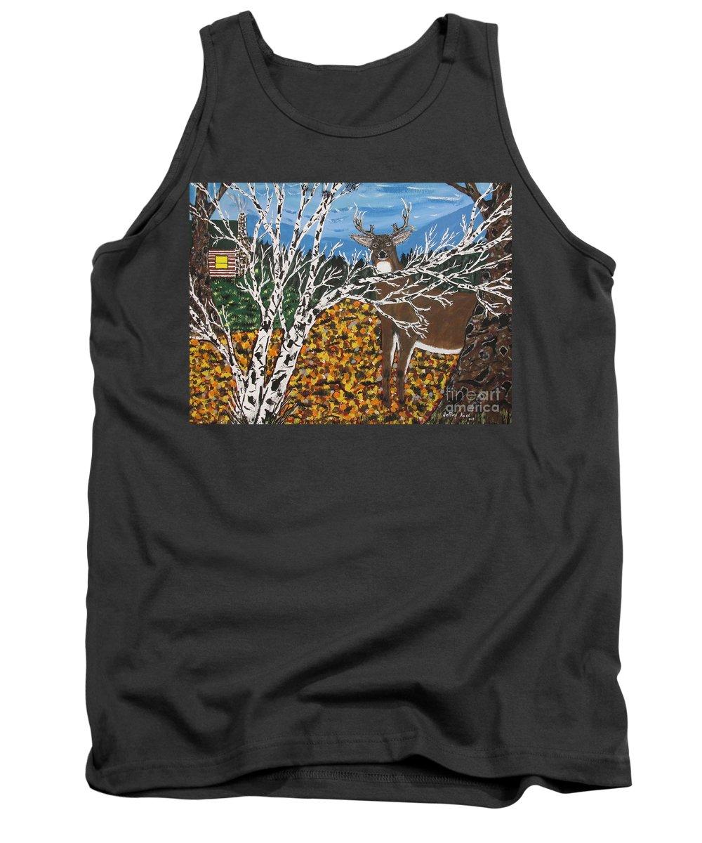 Deer Tank Top featuring the painting Hunter's Deer Camp by Jeffrey Koss