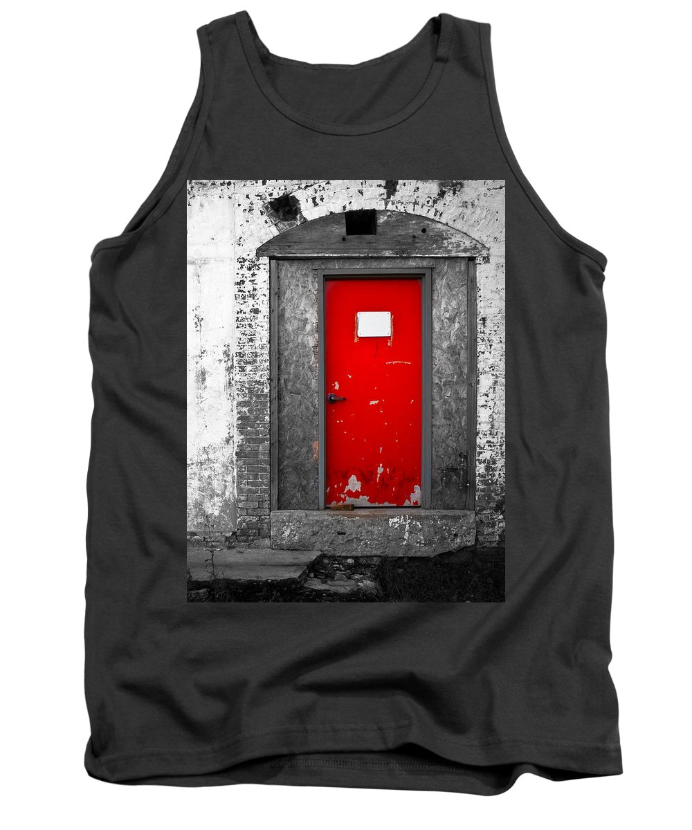 Huxley Tank Top featuring the photograph Red Door Perception by Bob Orsillo
