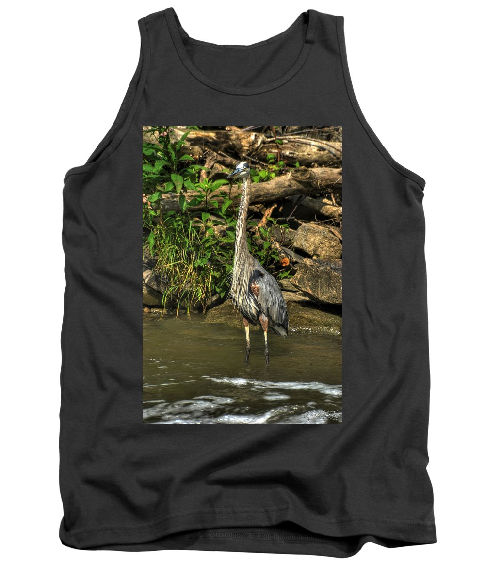 Michael Frank Jr Tank Top featuring the photograph 04 Waiting Heron by Michael Frank Jr