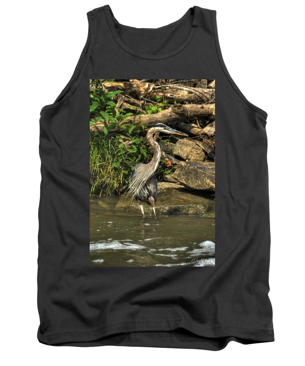 Michael Frank Jr Tank Top featuring the photograph 06 Waiting Heron by Michael Frank Jr