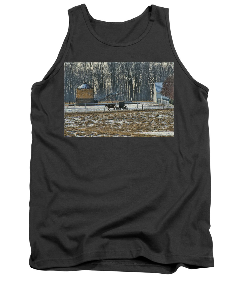 Amish Tank Top featuring the photograph Amish Buggy And Corn Crib by David Arment