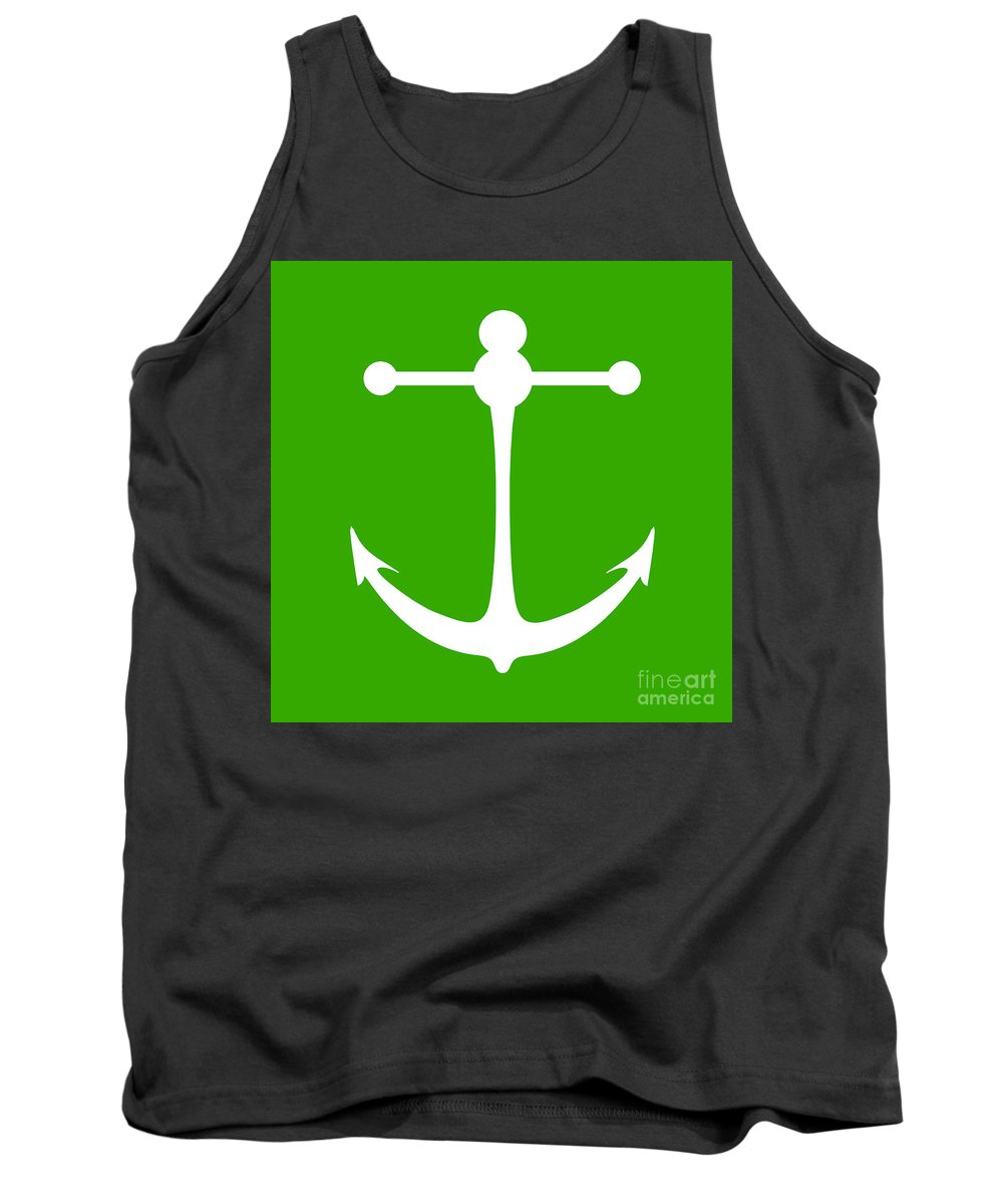 Graphic Art Tank Top featuring the digital art Anchor In Green And White by Jackie Farnsworth