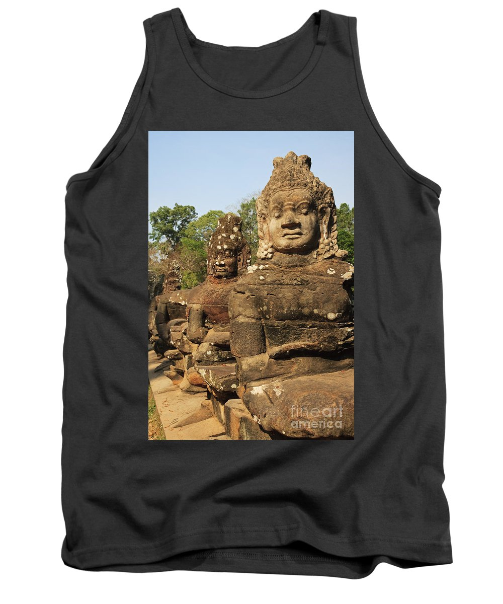 Historic Site Tank Top featuring the photograph Angkor Thom South Gate by David Davis
