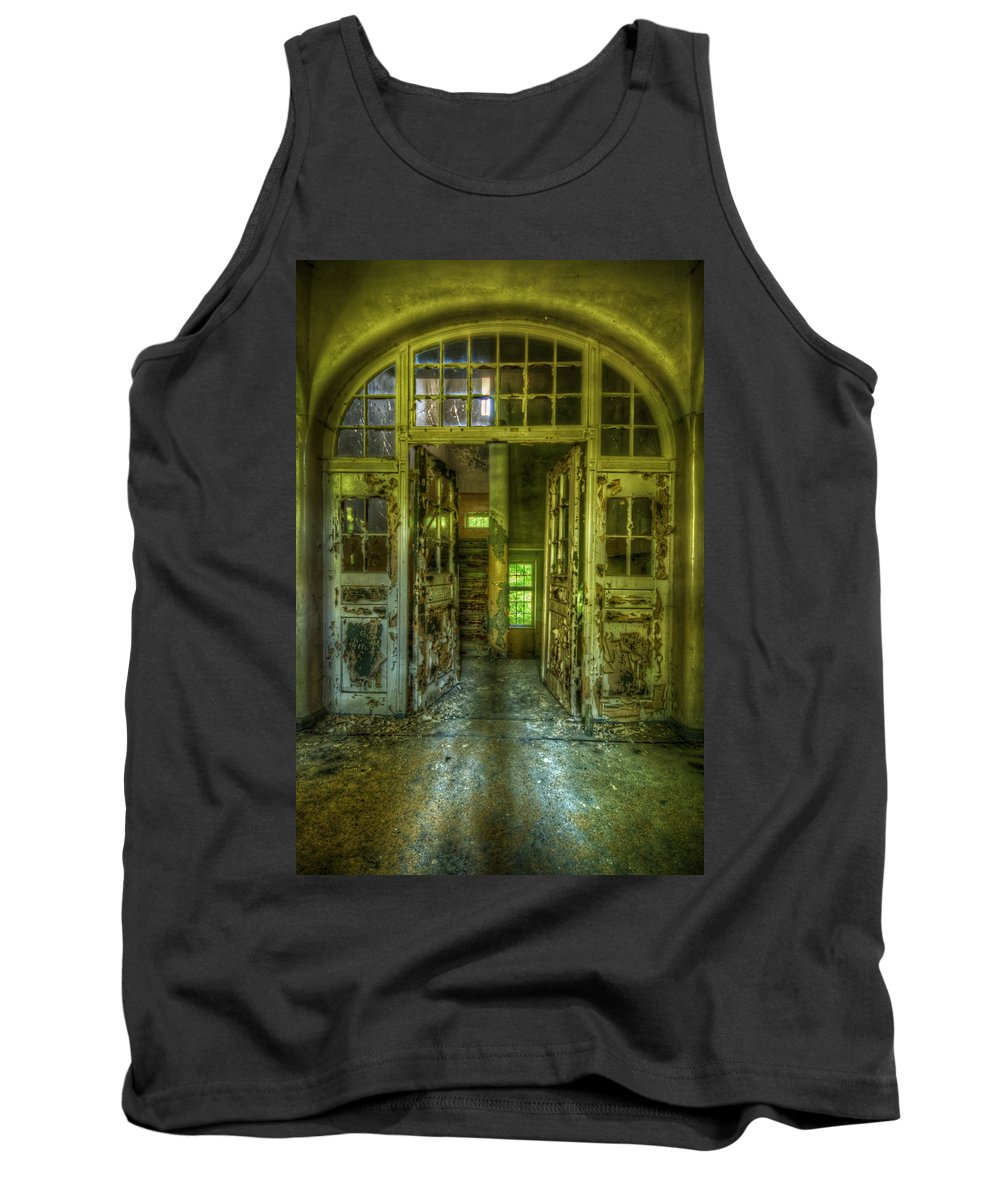 Urbex Tank Top featuring the digital art Arch Door by Nathan Wright