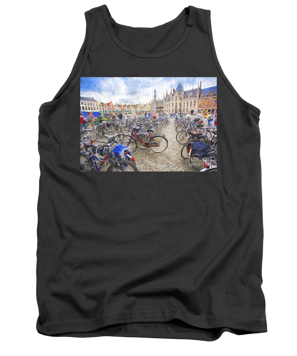 Brugge Tank Top featuring the photograph Bicycles in Brugge by Sheila Smart Fine Art Photography