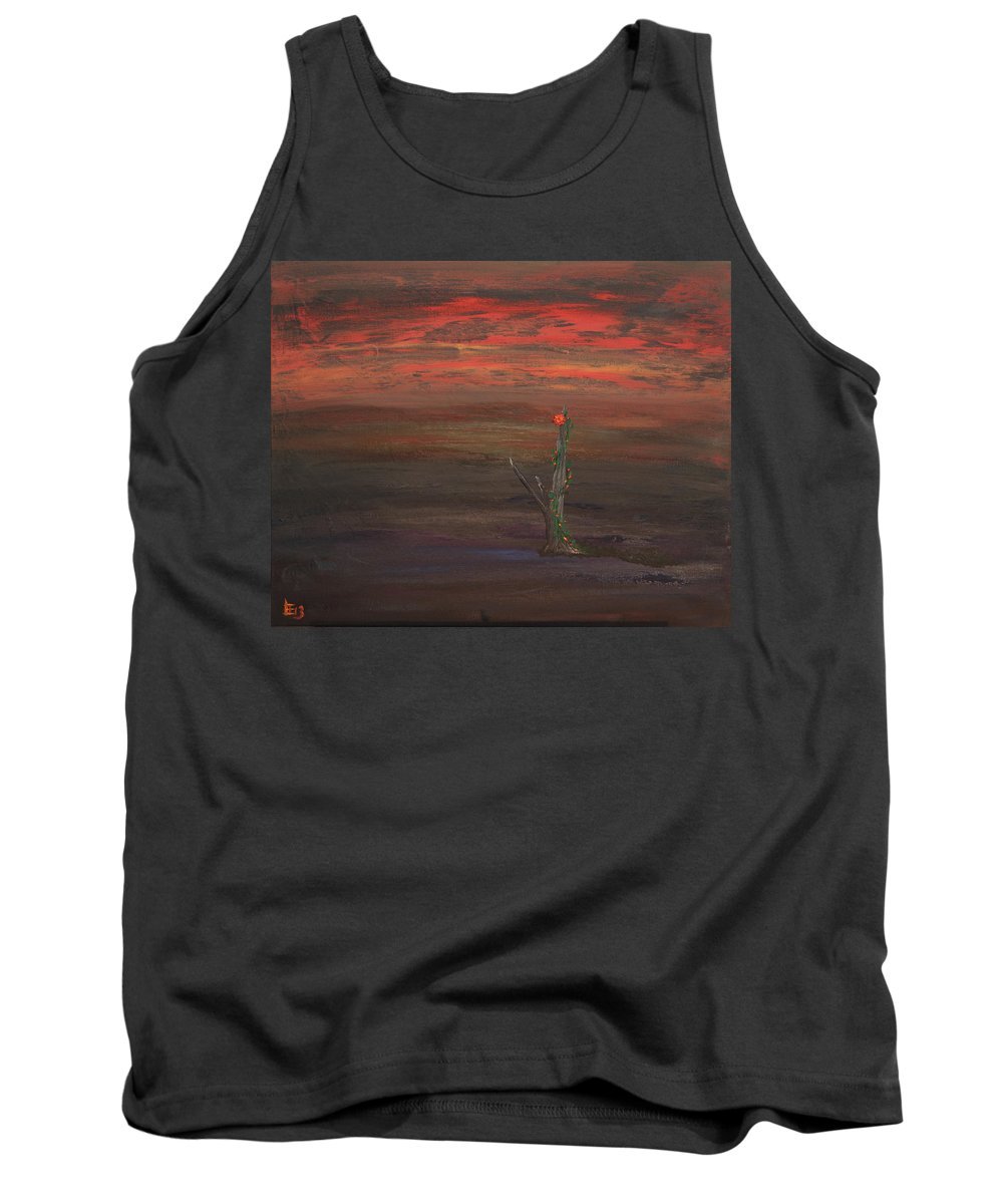 Oil Tank Top featuring the painting Bloom In The Murky Water by Laurette Escobar
