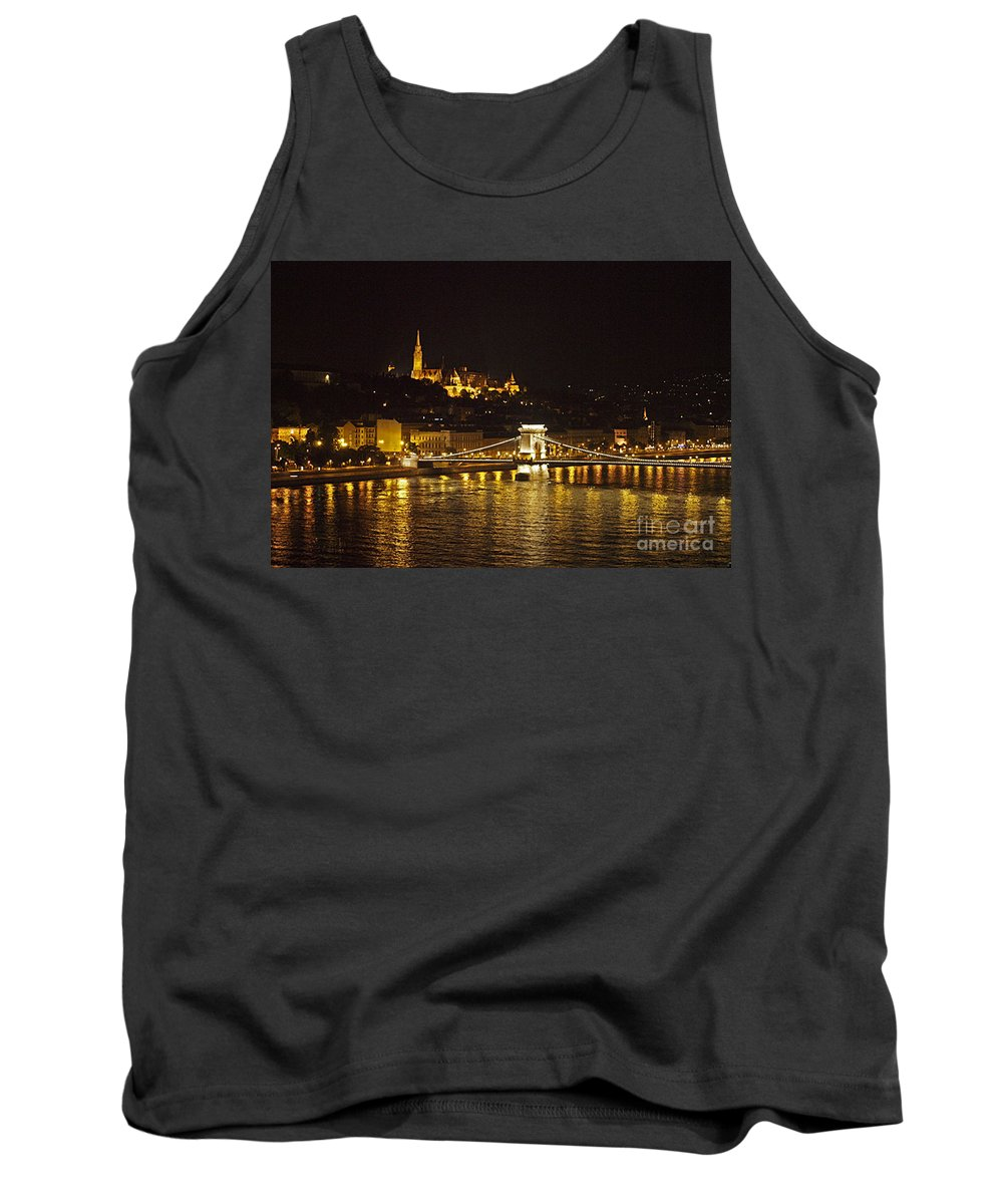 Budapest Tank Top featuring the photograph Budapest At Night by Howard Stapleton