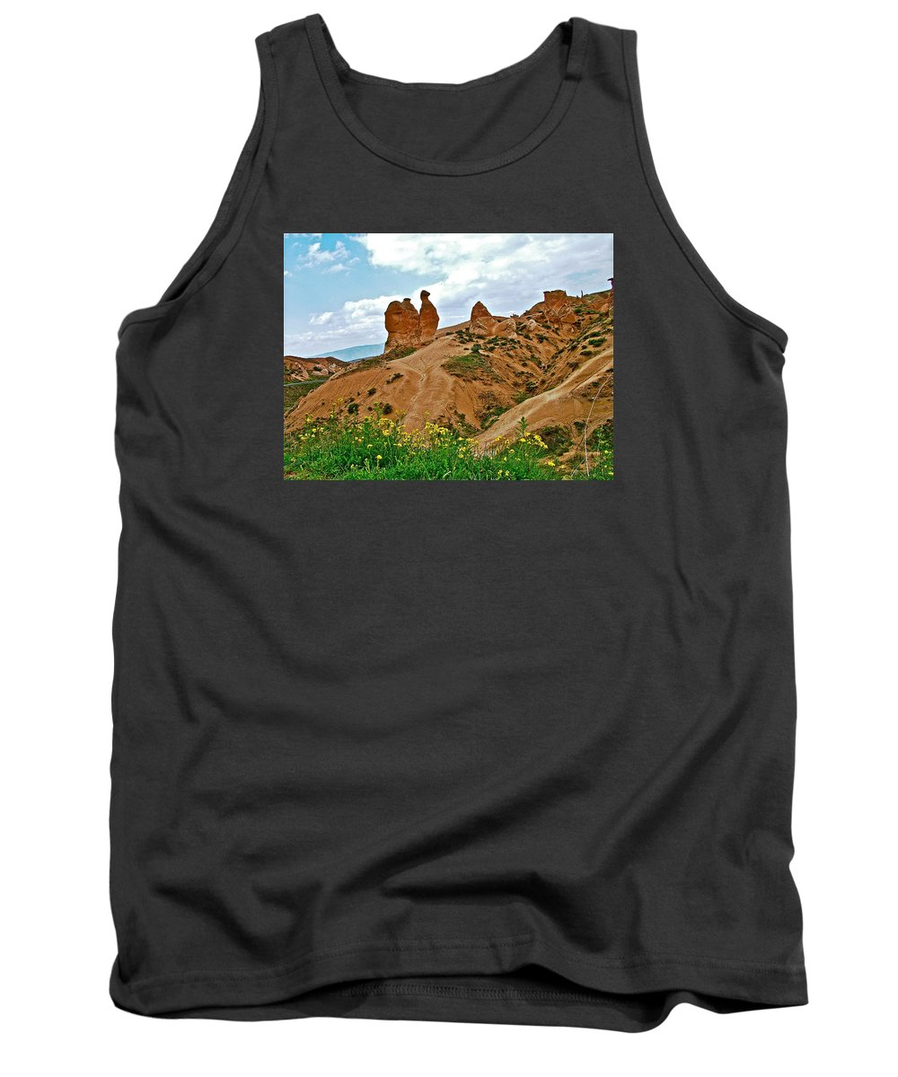 Camel In Camel Valley Tank Top featuring the photograph Camel In Camel Valley In Cappadocia-turkey by Ruth Hager
