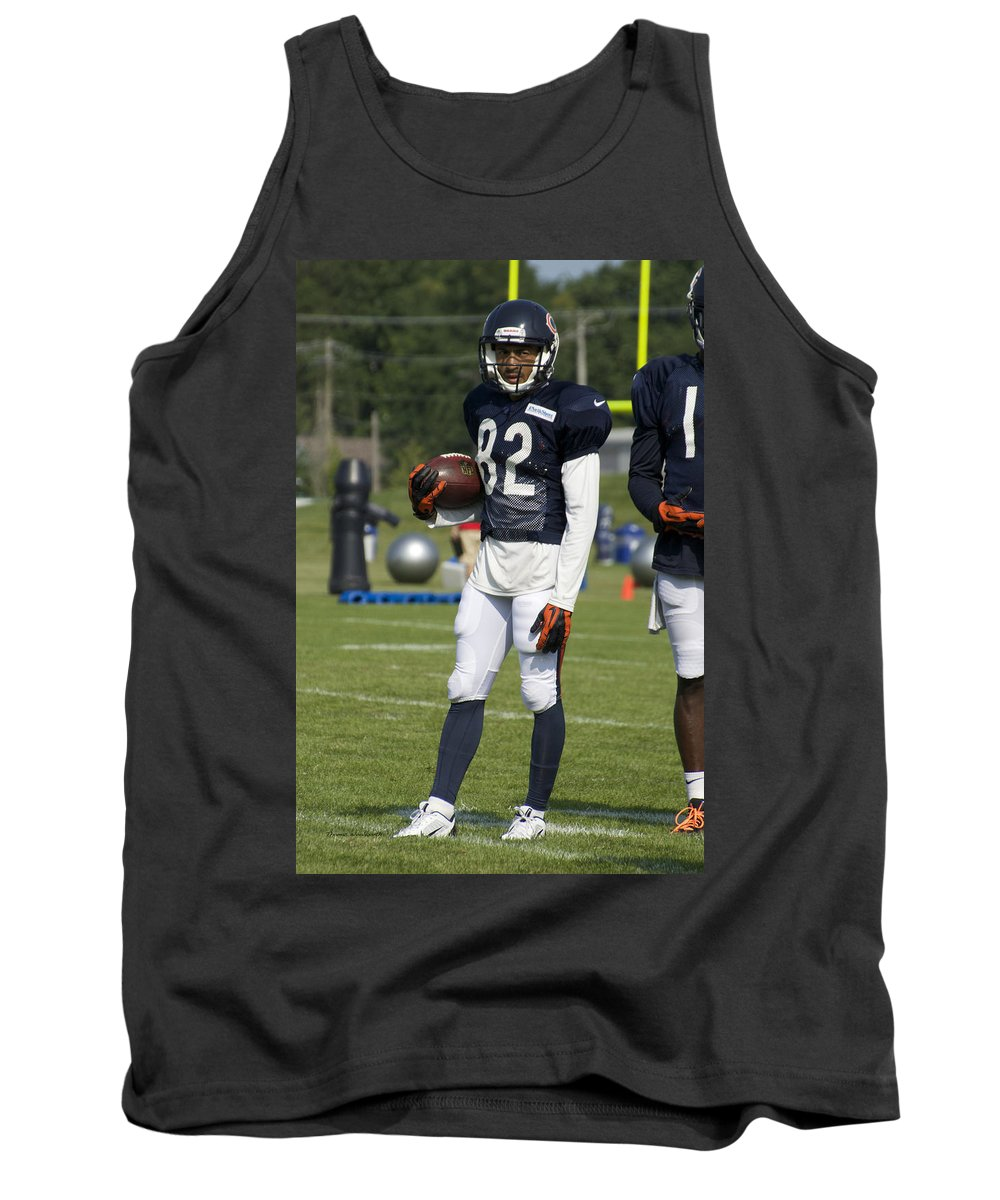Chicago Bears Tank Top featuring the photograph Chicago Bears Wr Chris Williams Training Camp 2014 01b Bw by Thomas Woolworth