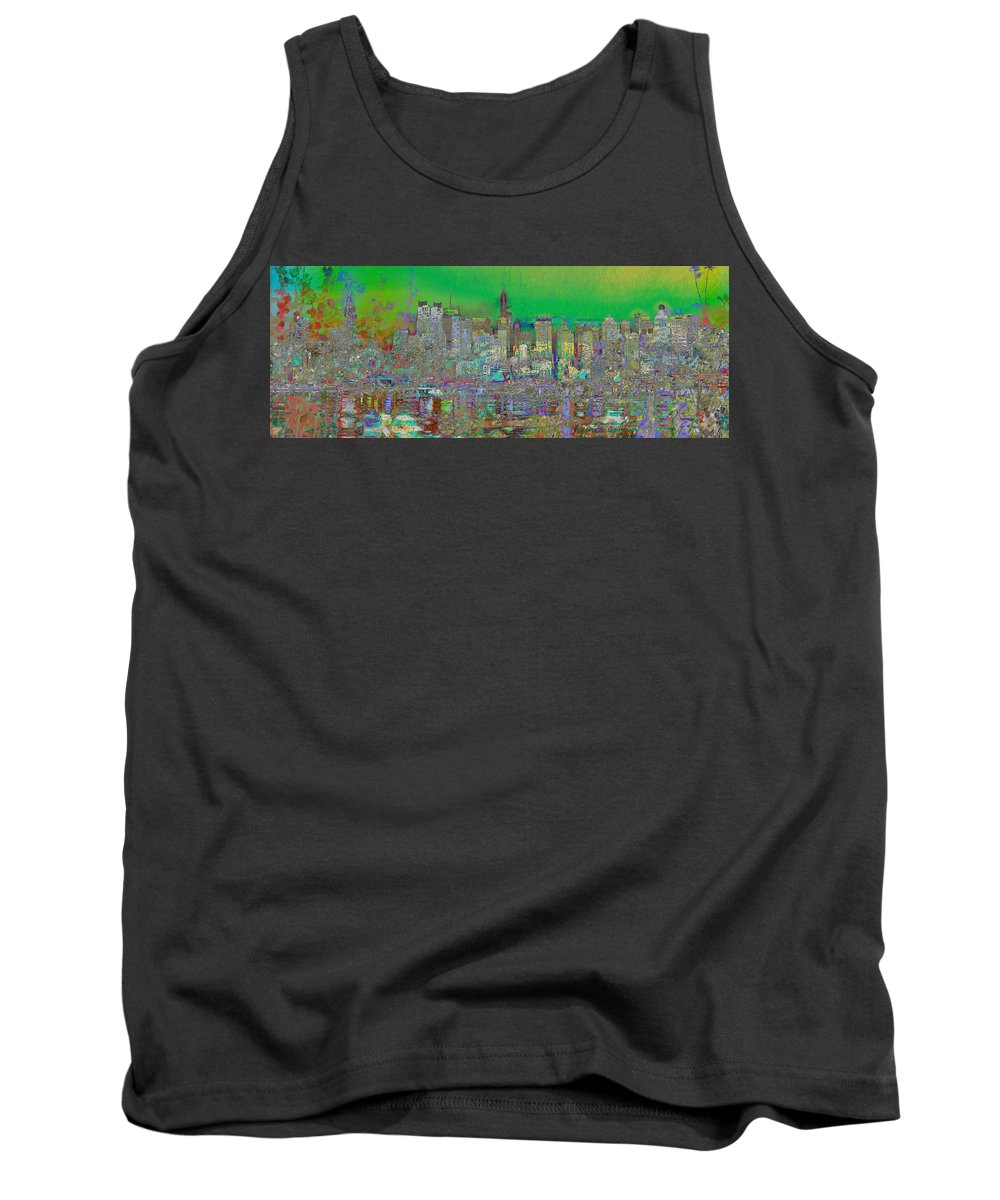 Landscape Tank Top featuring the digital art City Garden Art Landscape by Mary Clanahan