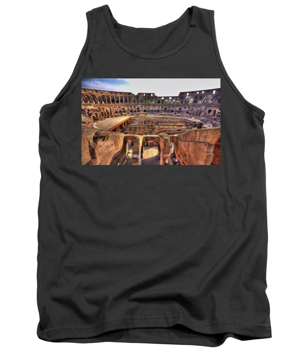 Amphitheater Tank Top featuring the painting Colosseum In Rome by Jeelan Clark