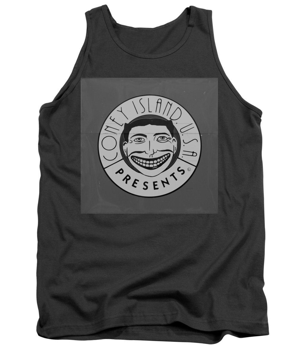 Brooklyn Tank Top featuring the photograph CONEY ISLAND TILLIE in BLACK AND WHITE by Rob Hans