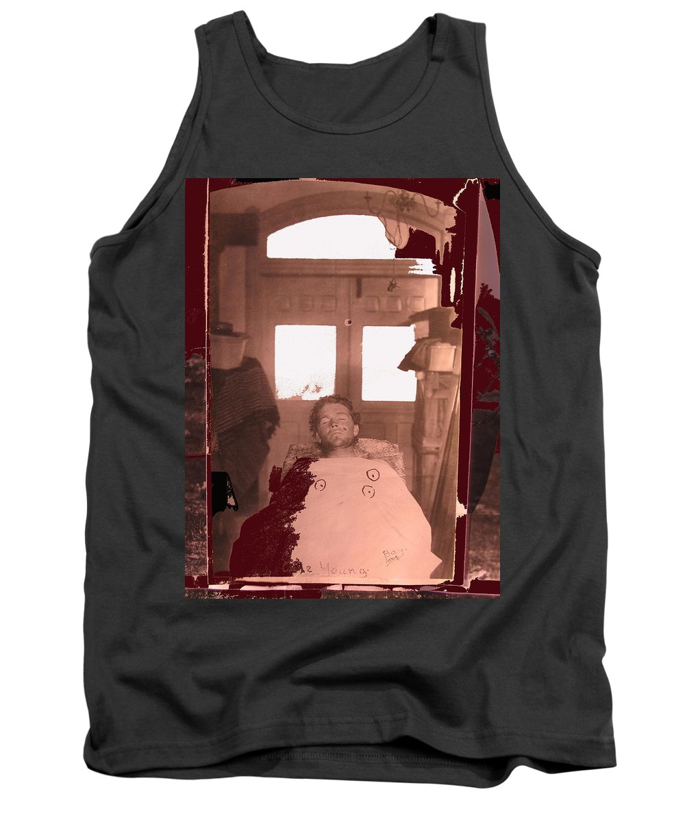 Corpse Bullet Holes Train Robber Cole Estes Aka Cole Young 1872-1896 Collage 1896-2012 Tank Top featuring the photograph Corpse Bullet Holes Train Robber Cole Estes Aka Cole Young 1872-1896 Collage 1896-2012 by David Lee Guss