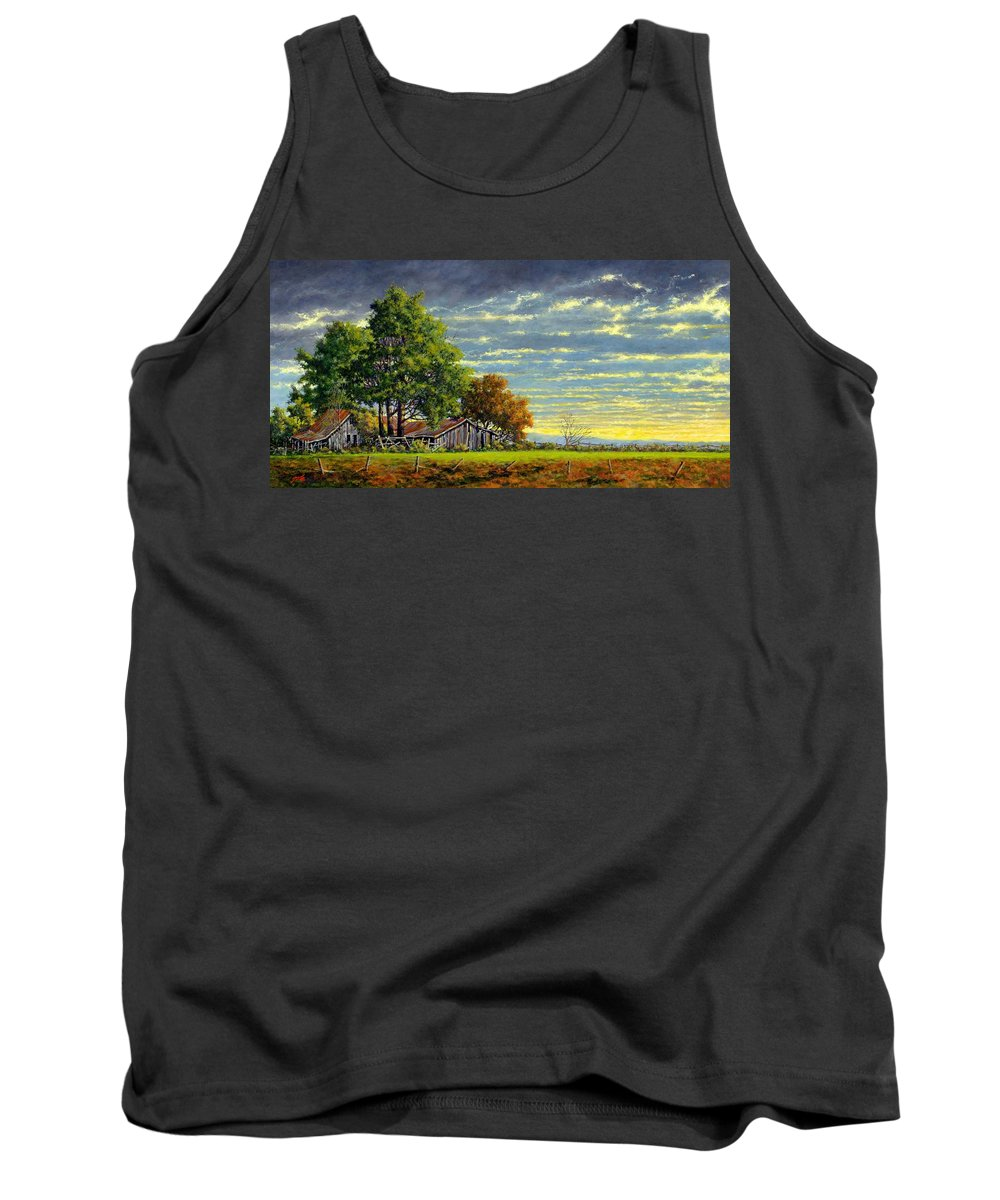 Landscape Tank Top featuring the painting Dusk by Jim Gola