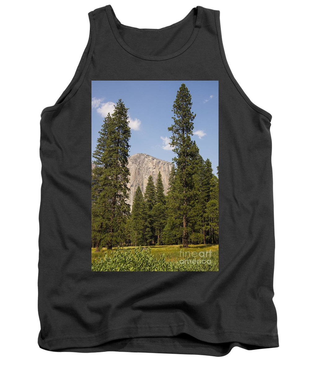Yosemite National Park California California Parks Tree Trees Mountain Mountains Peak Peaks Forest Forests Landscape Landscapes El Capitan Landmark Landmarks Meadow Meadows Tank Top featuring the photograph El Capitan by Bob Phillips