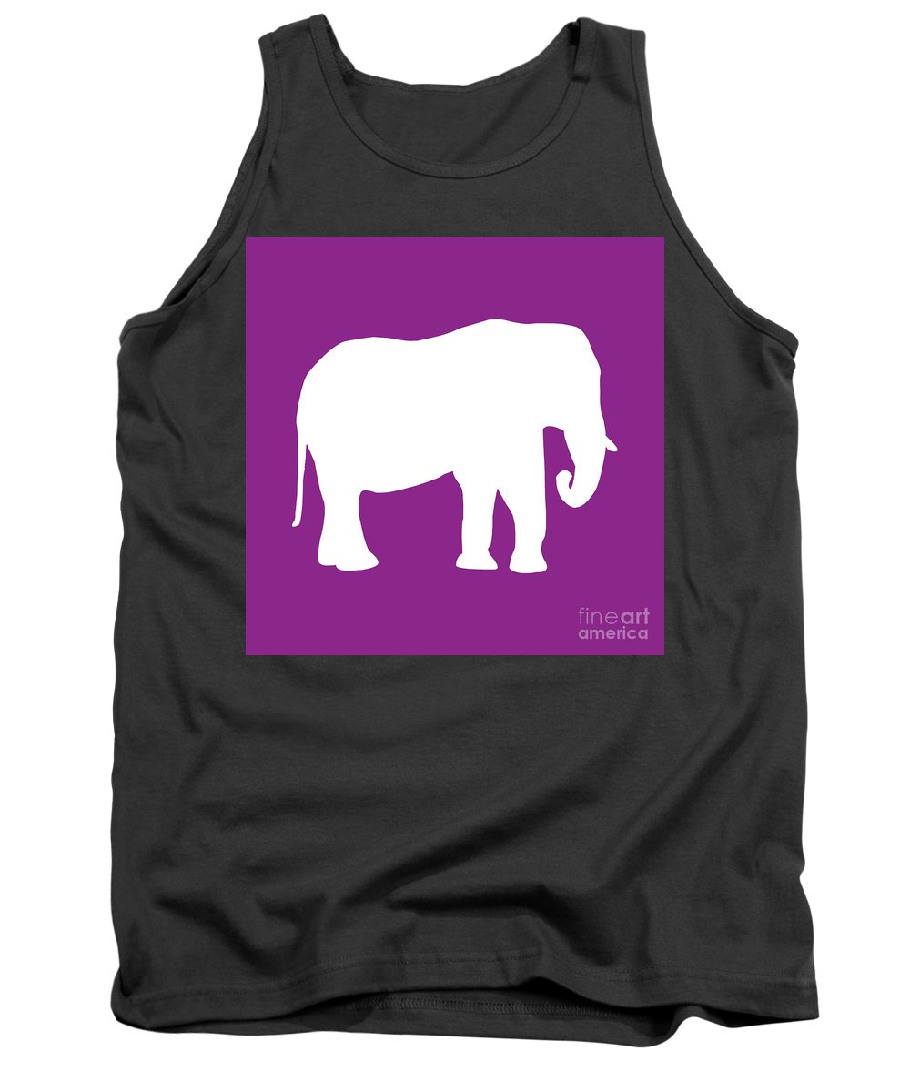 Graphic Art Tank Top featuring the digital art Elephant In Purple And White by Jackie Farnsworth