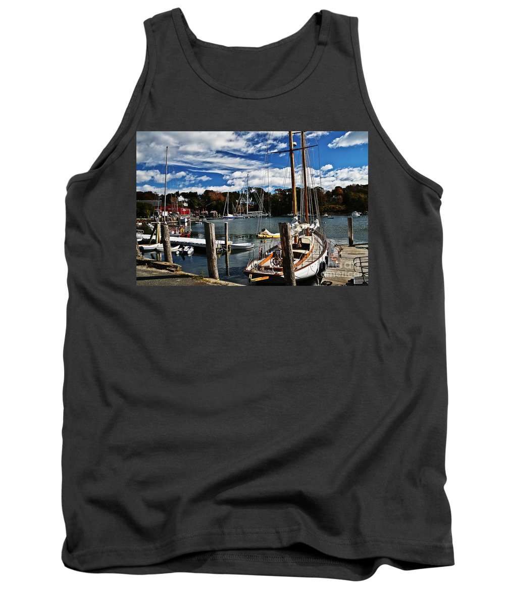 Travel Tank Top featuring the photograph Fall In The Harbor by Elvis Vaughn