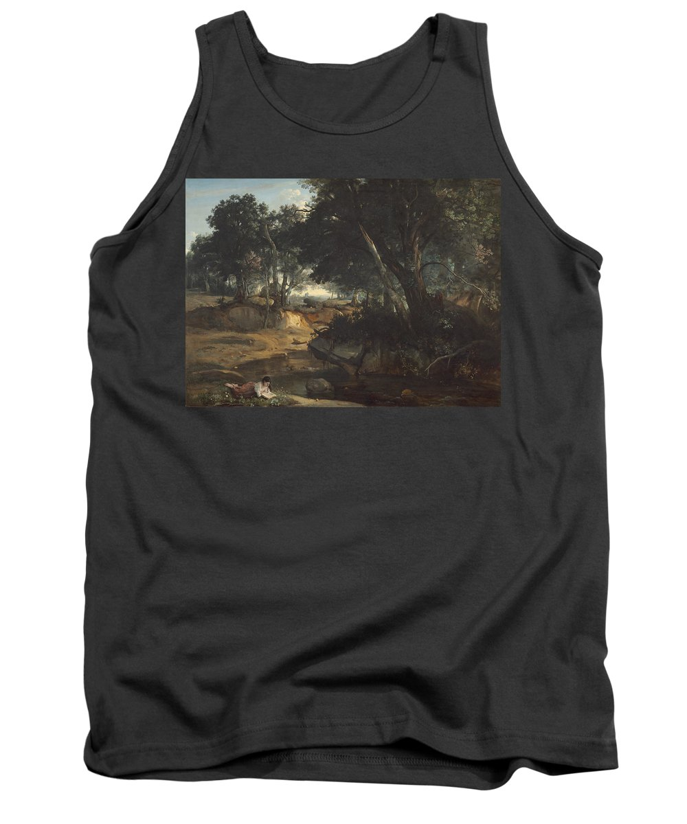 Jean-baptiste-camille Corot Tank Top featuring the painting Forest Of Fontainebleau by Jean-Baptiste-Camille Corot