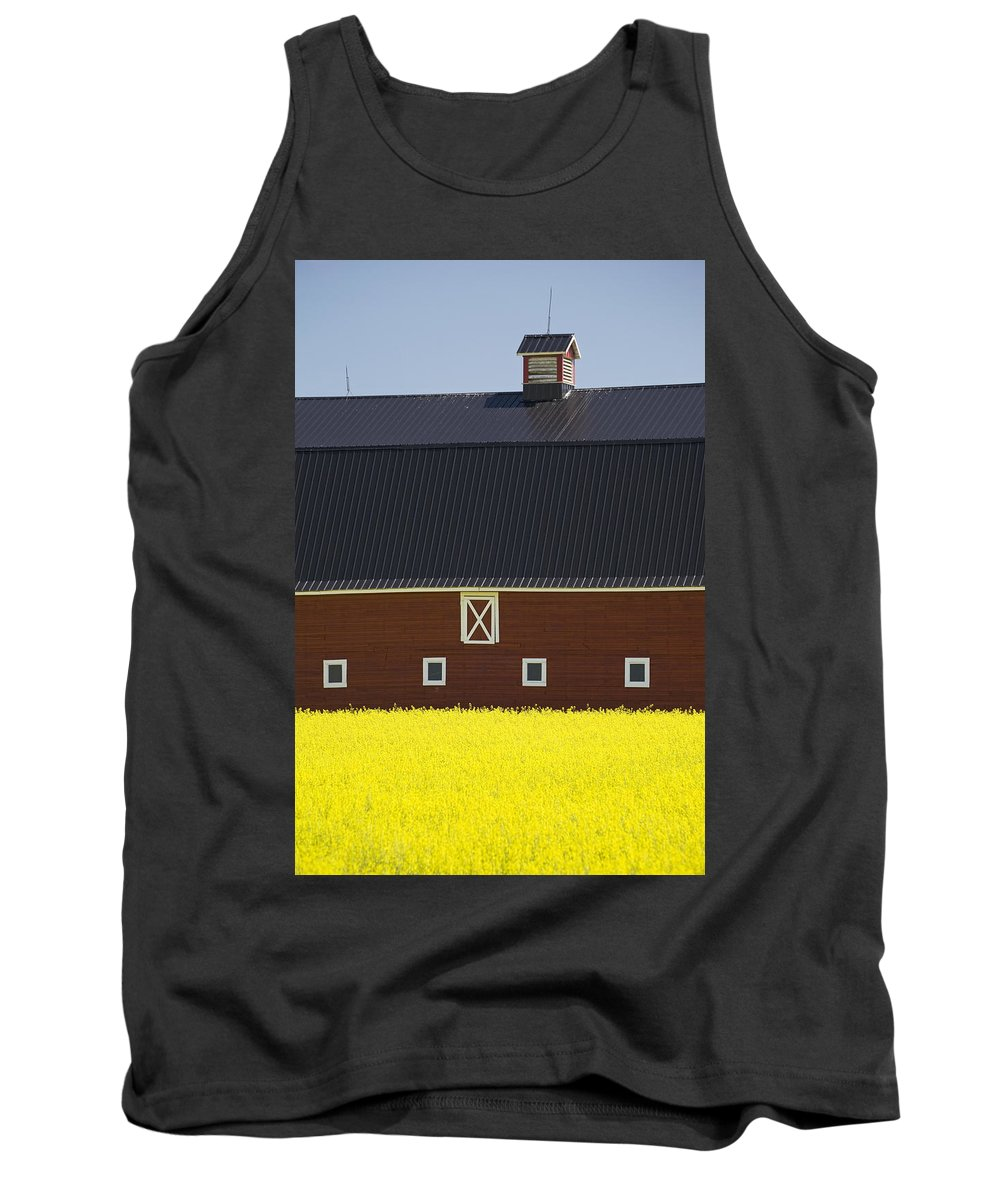 Agriculture Tank Top featuring the photograph Front Of A Red Barn In A Flowering by Michael Interisano