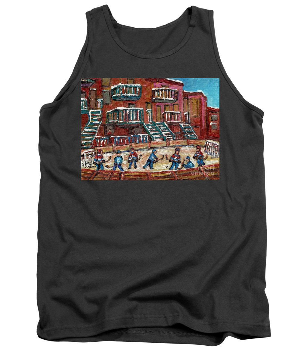 Hockey Tank Top featuring the painting Gorgeous Day For A Game by Carole Spandau