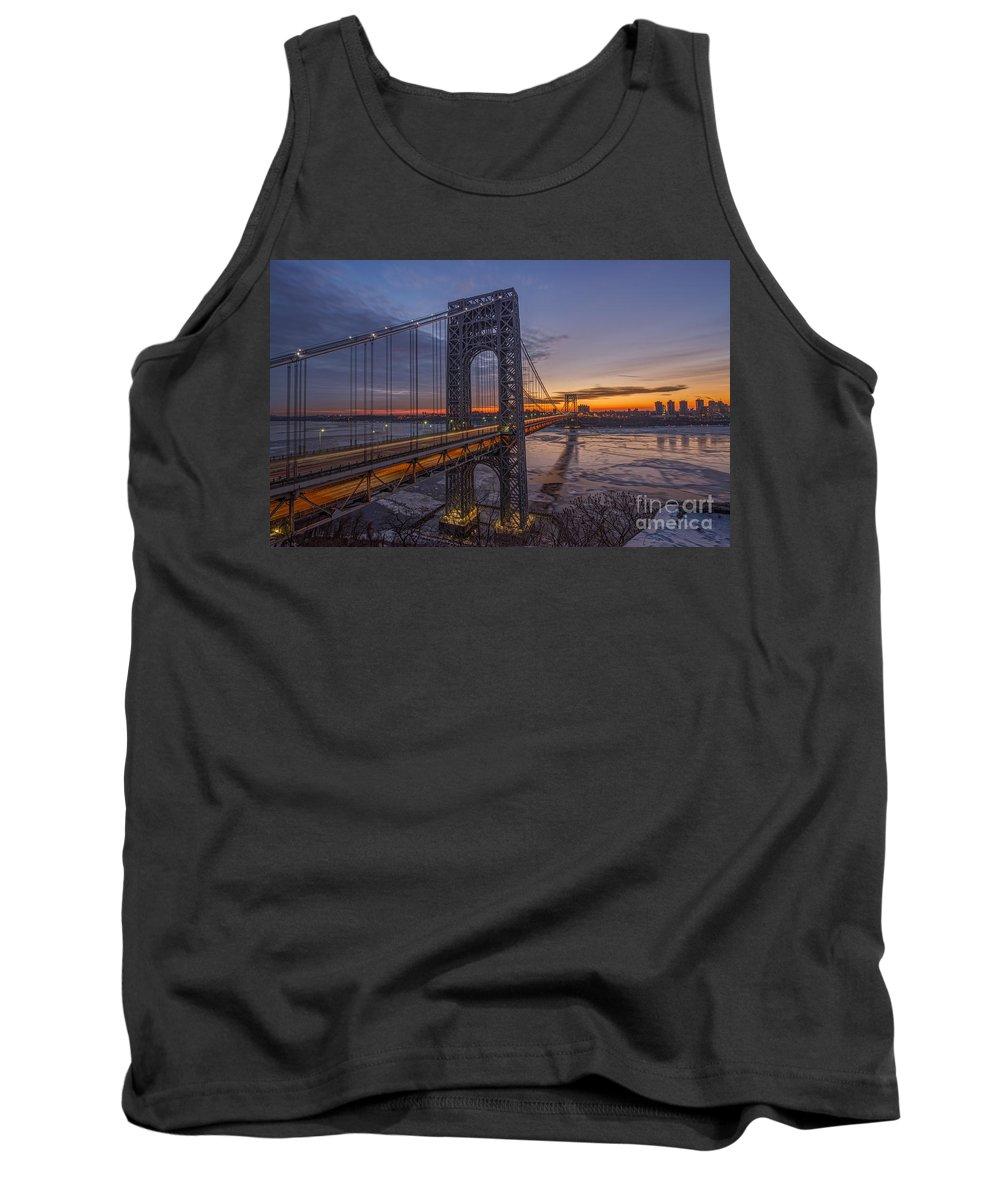 Gw Bridge Winter Sunrise Tank Top featuring the photograph Gw Bridge Car Light Trails by Michael Ver Sprill