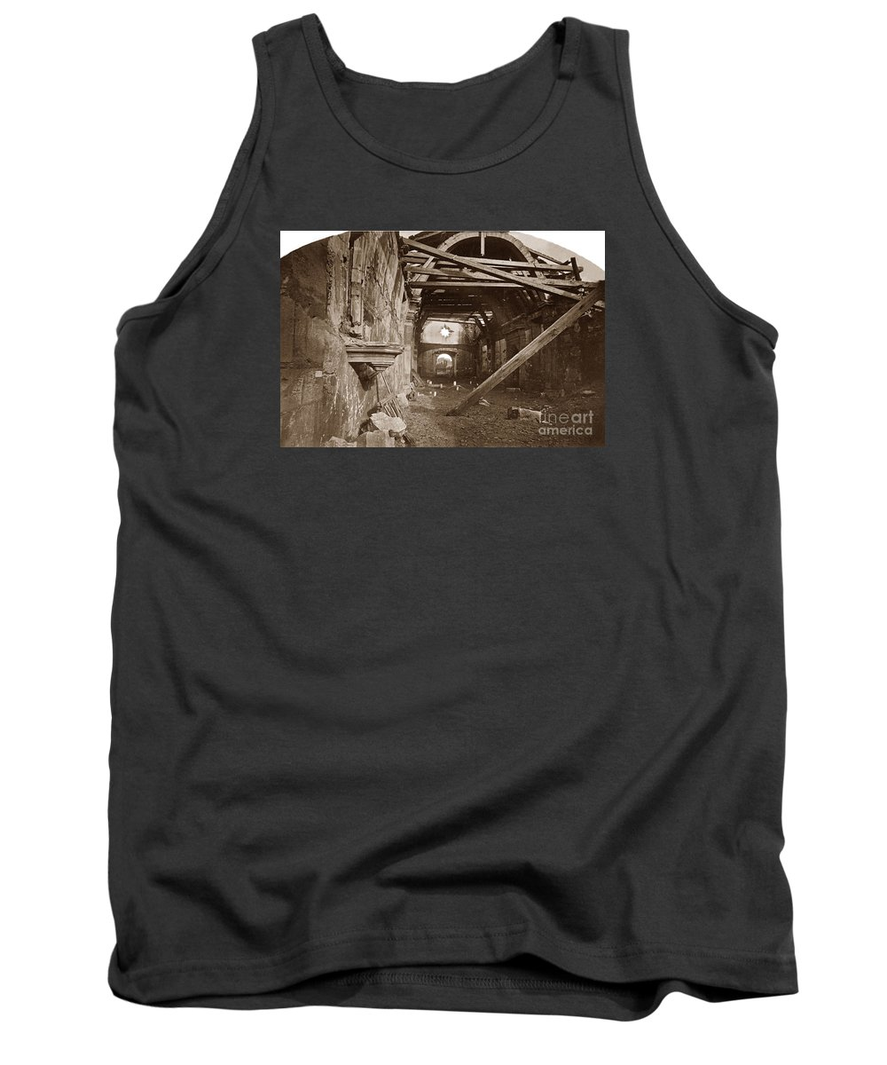 Interior Tank Top featuring the photograph Interior Of Old Mission Church At Carmel Mission California Circa 1880 by California Views Archives Mr Pat Hathaway Archives