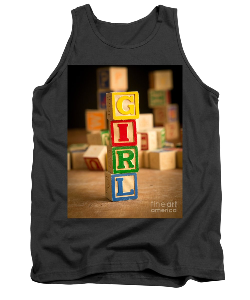 Abs Tank Top featuring the photograph Its A Girl - Alphabet Blocks by Edward Fielding