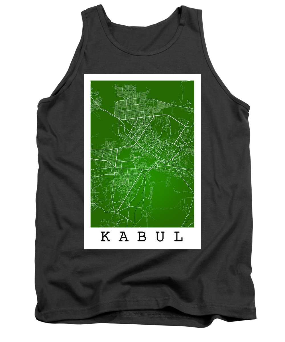 Road Map Tank Top featuring the digital art Kabul Street Map - Kabul Afghanistan Road Map Art On Colored Bac by Jurq Studio