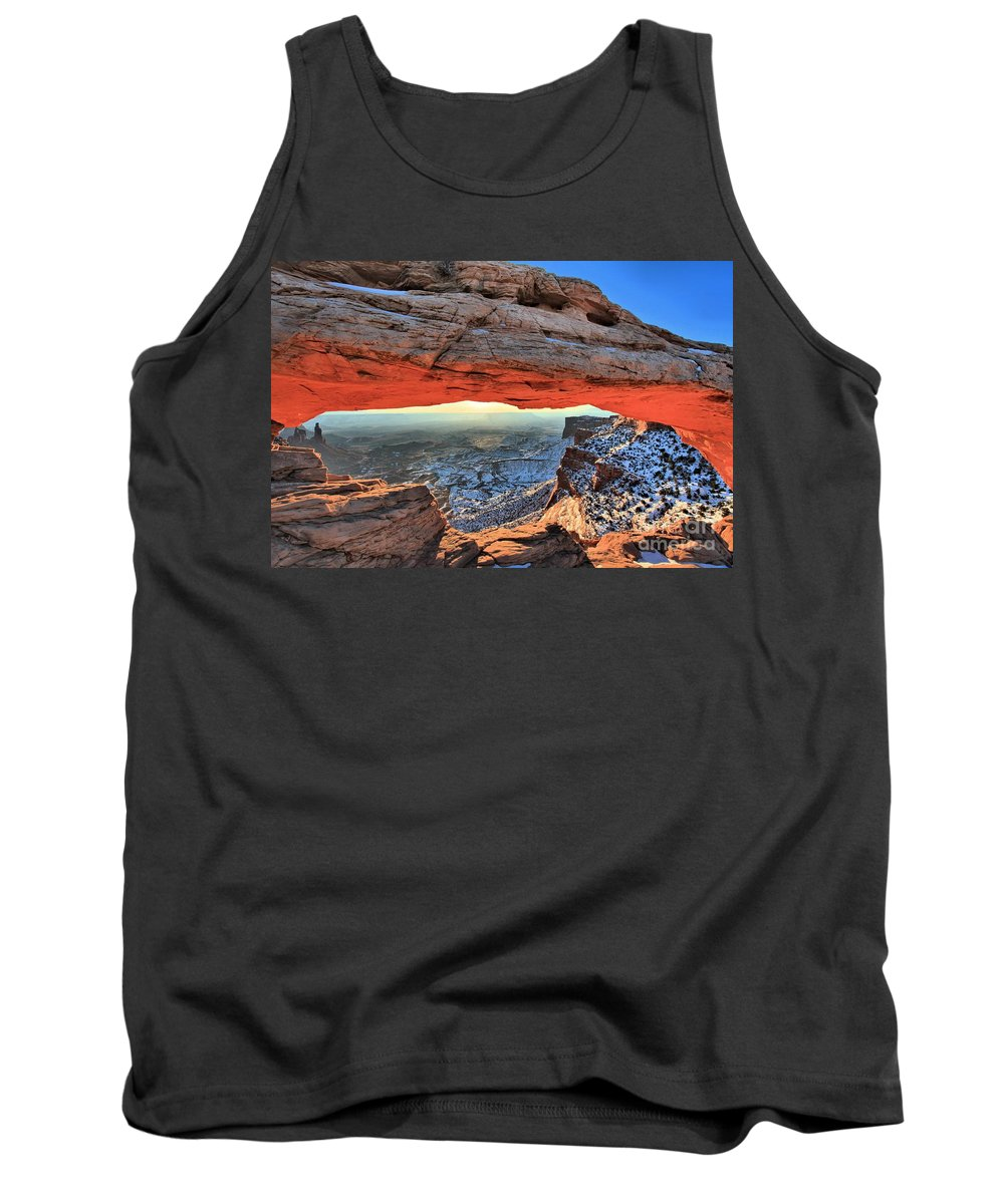 Mesa Arch Sunrise Tank Top featuring the photograph Mesa Arch Frame by Adam Jewell
