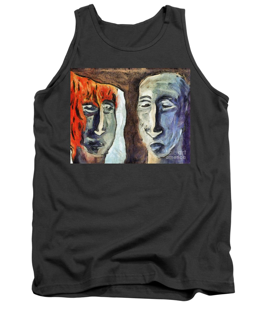 Abstract Tank Top featuring the mixed media Mirroring - Retrospect by Michal Boubin