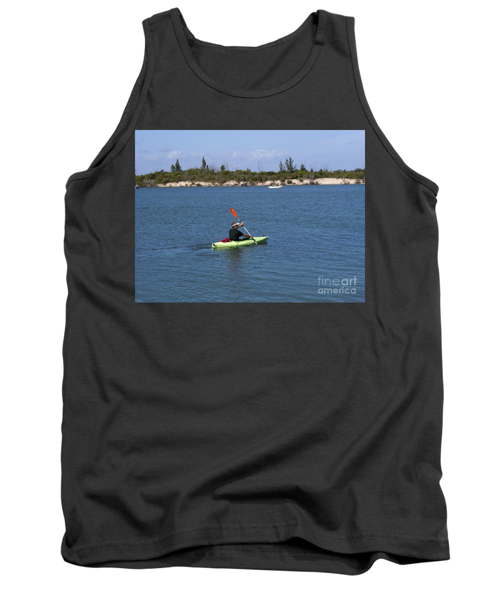 Kayak Tank Top featuring the photograph Opening Day For Snook Fishing At Sebastian Inlet In Florida by Allan Hughes