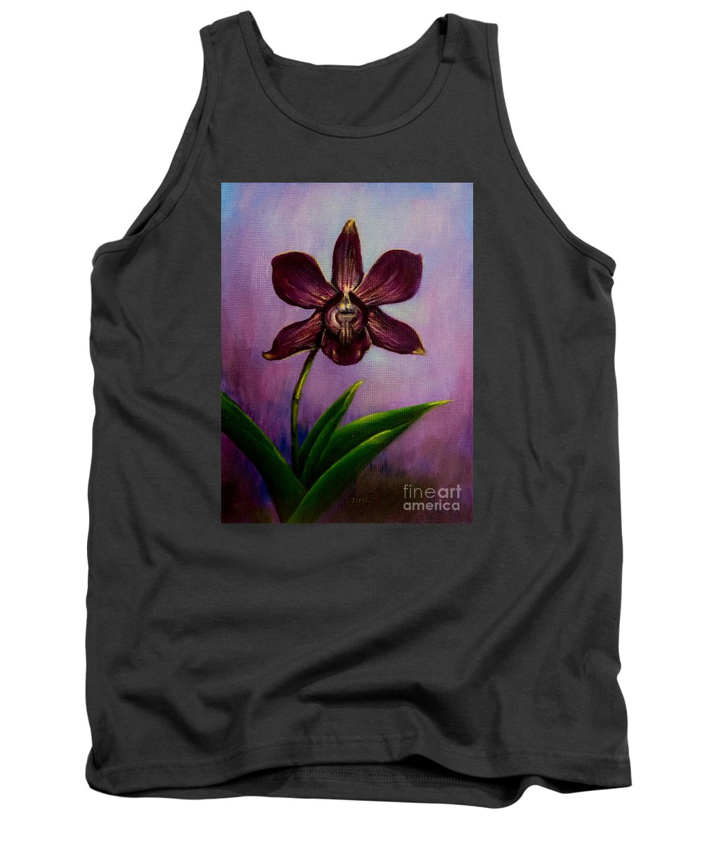 Art Tank Top featuring the painting Orchid by Zina Stromberg