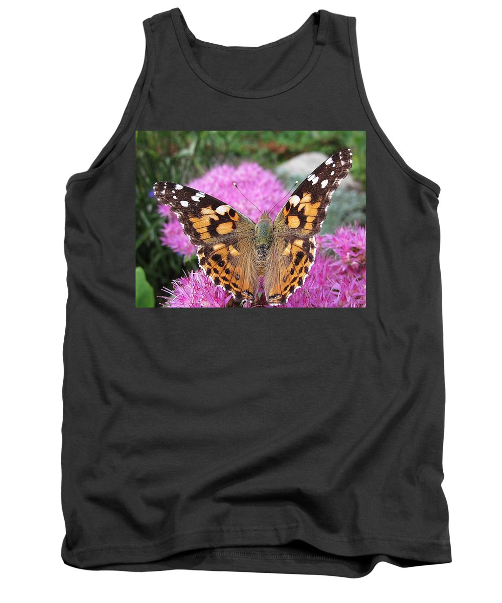 Painted Lady Tank Top featuring the photograph Painted Lady Butterfly Up Close by MTBobbins Photography