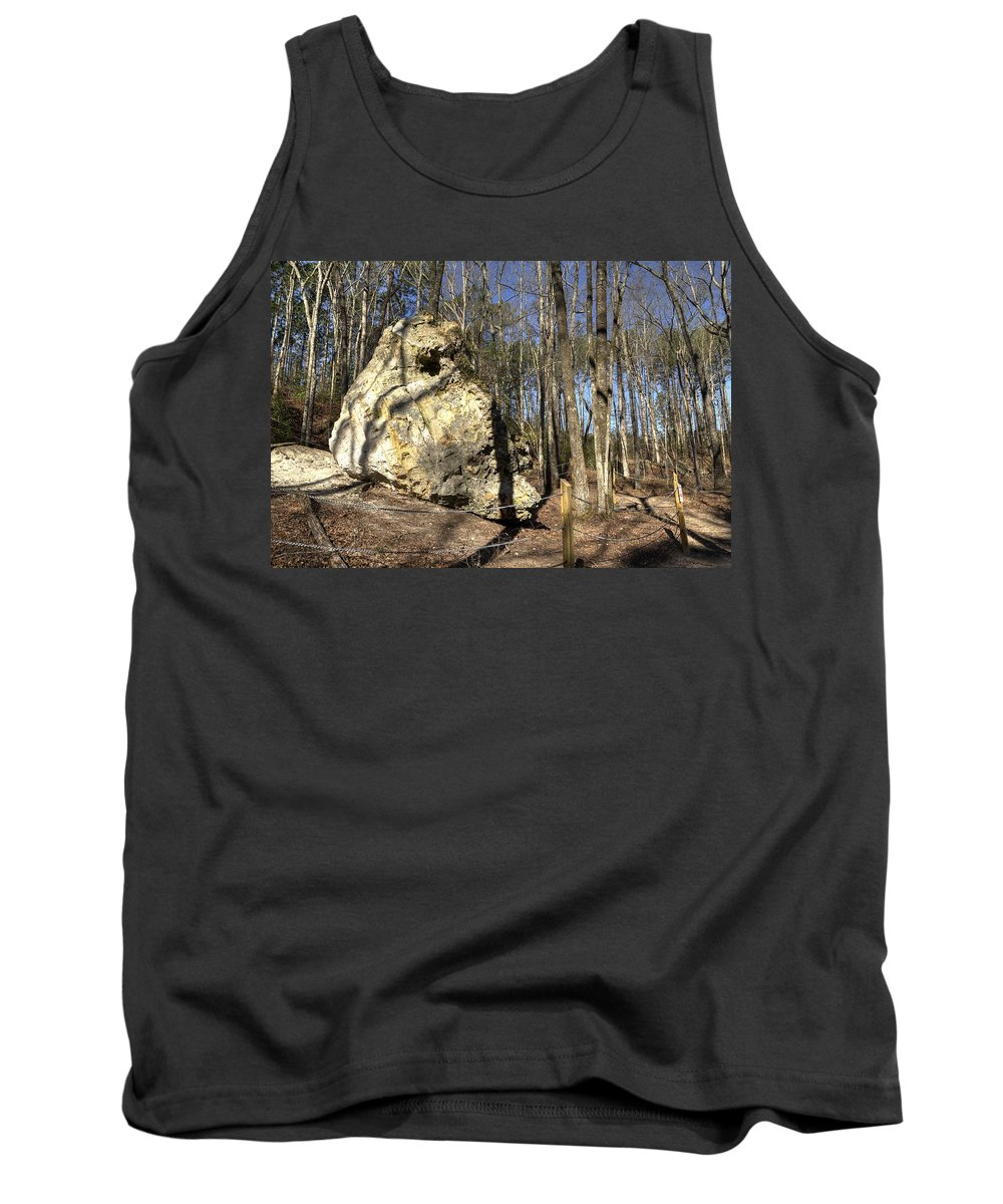 Peach Tank Top featuring the photograph Peach Tree Rock-5 by Charles Hite