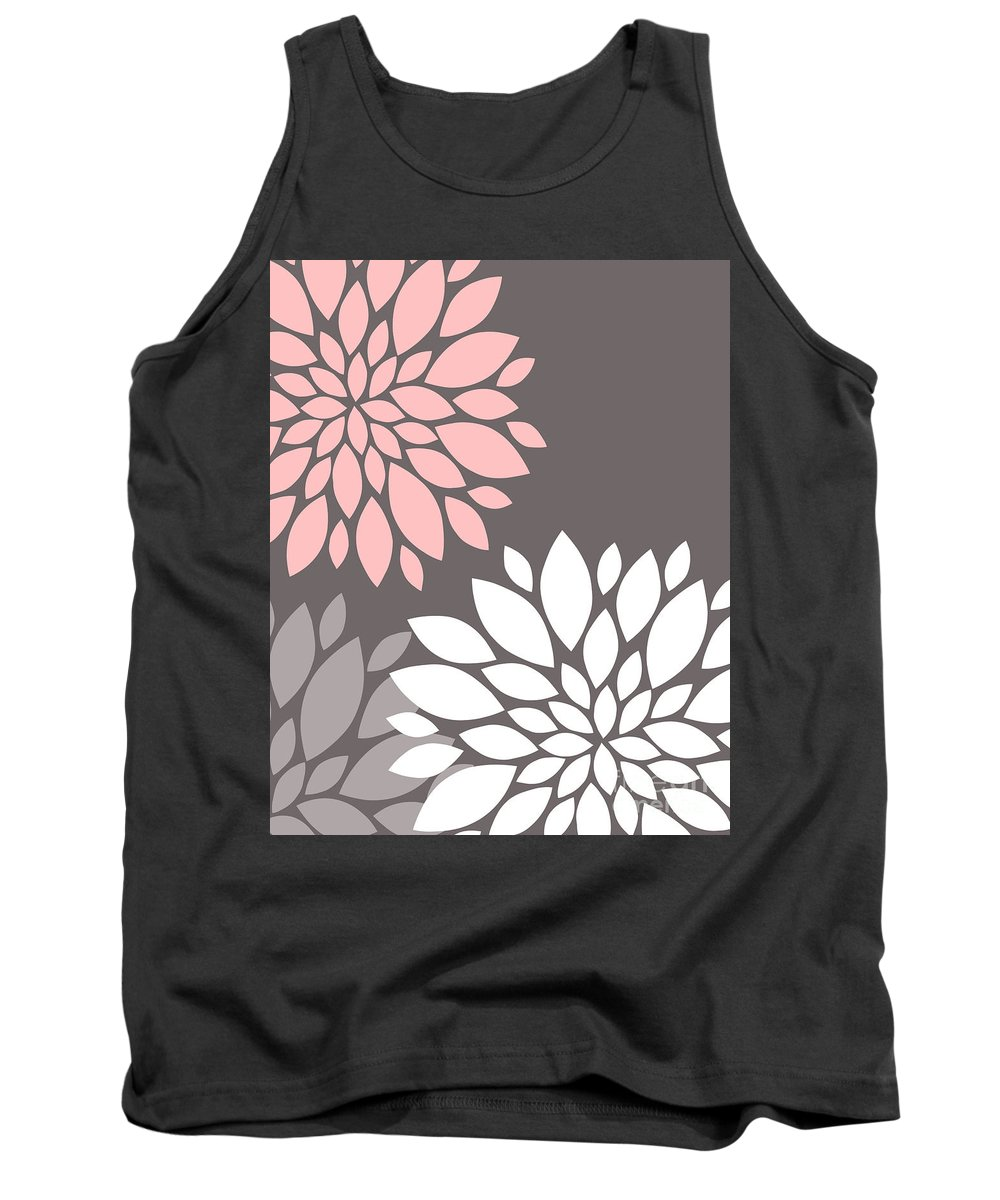Pink Tank Top featuring the digital art Pink Grey White Peony Flowers by Voros Edit