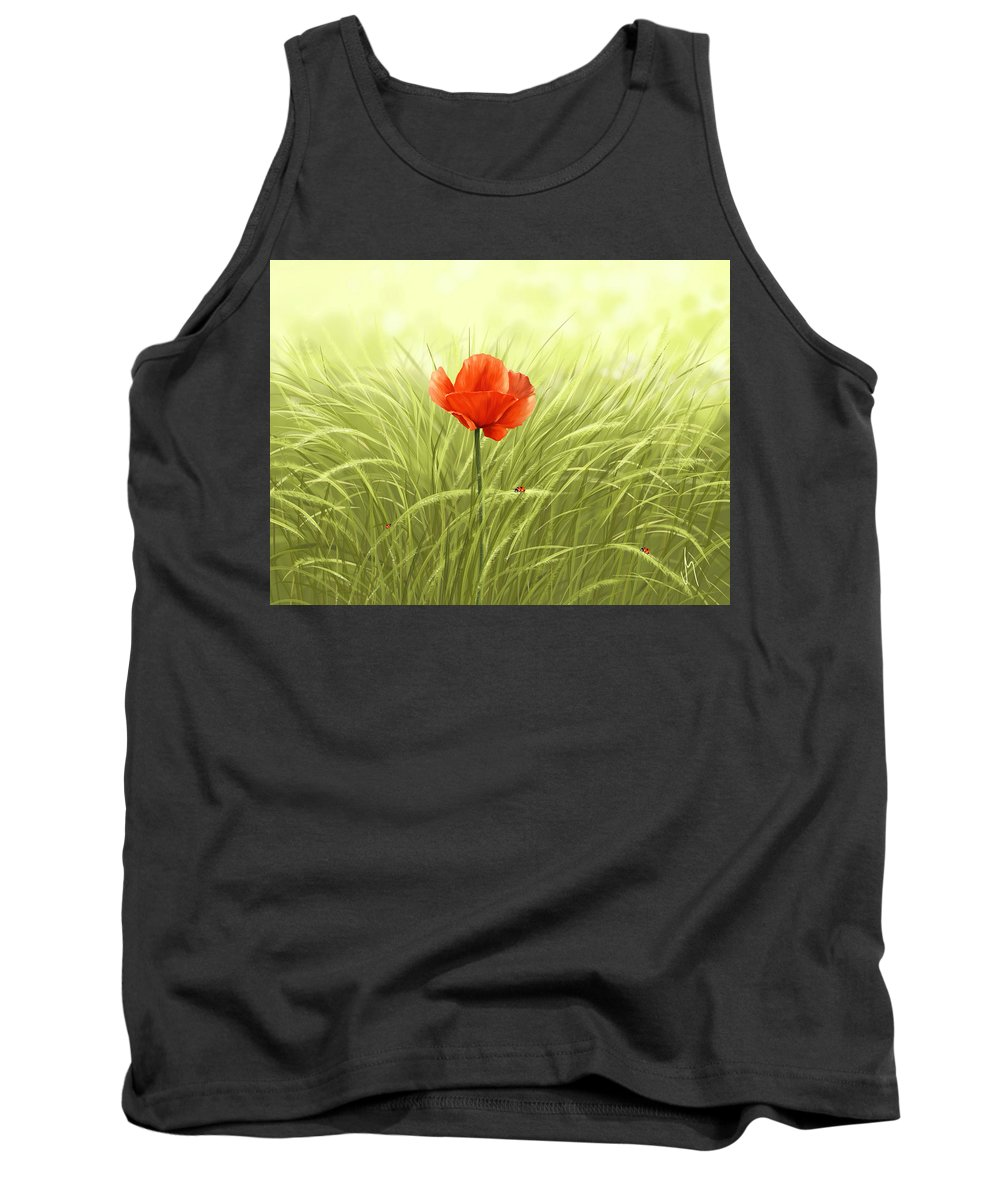 Flower Tank Top featuring the digital art Poppy by Veronica Minozzi