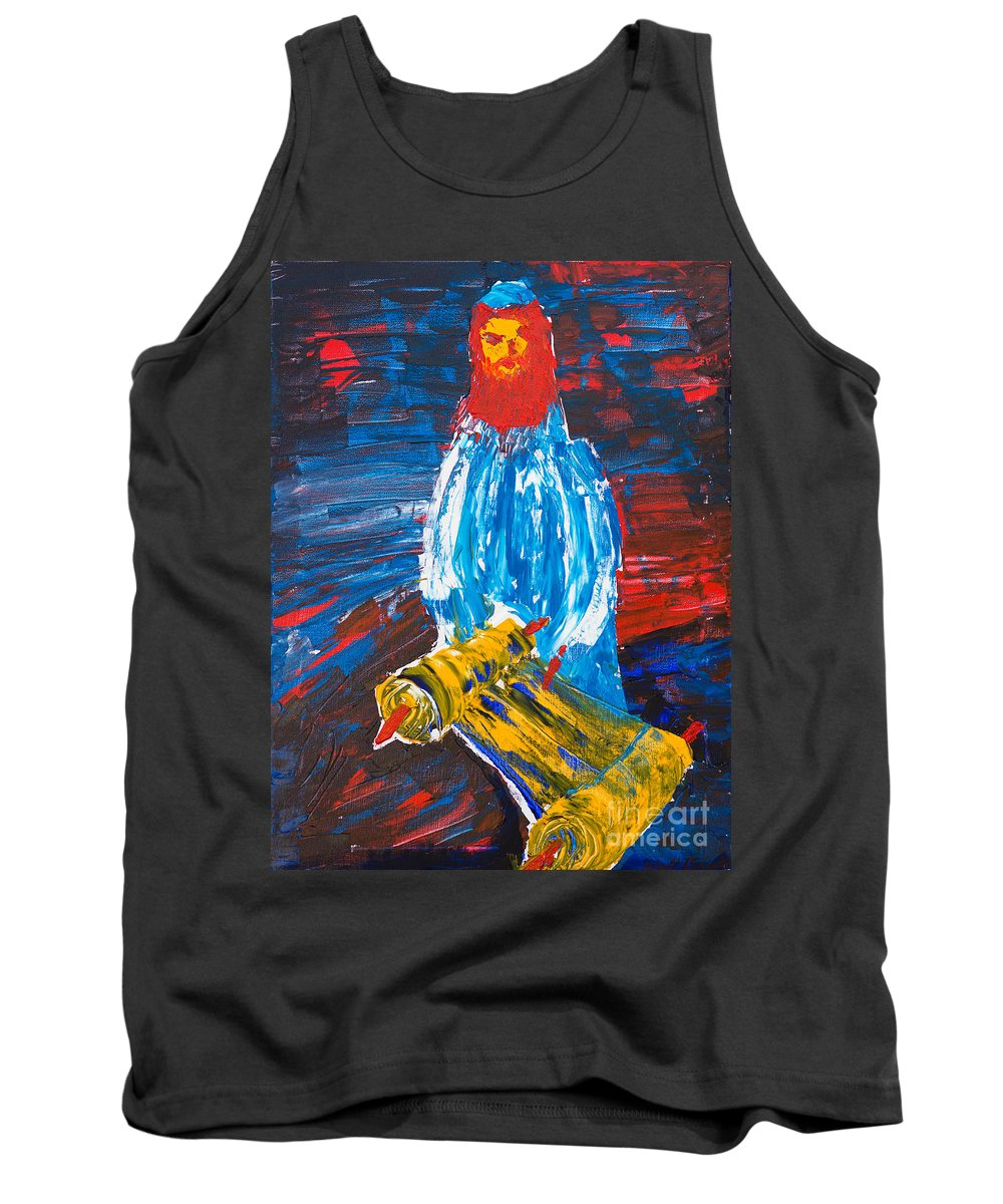 Jewish Art Tank Top featuring the painting Rabbi And Torah by Walt Brodis