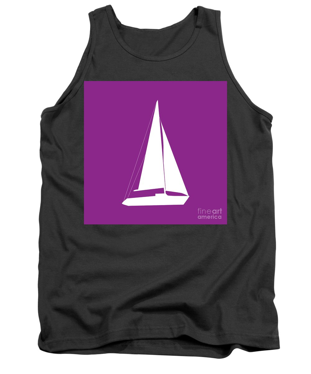 Graphic Art Tank Top featuring the photograph Sailboat In Purple And White by Jackie Farnsworth