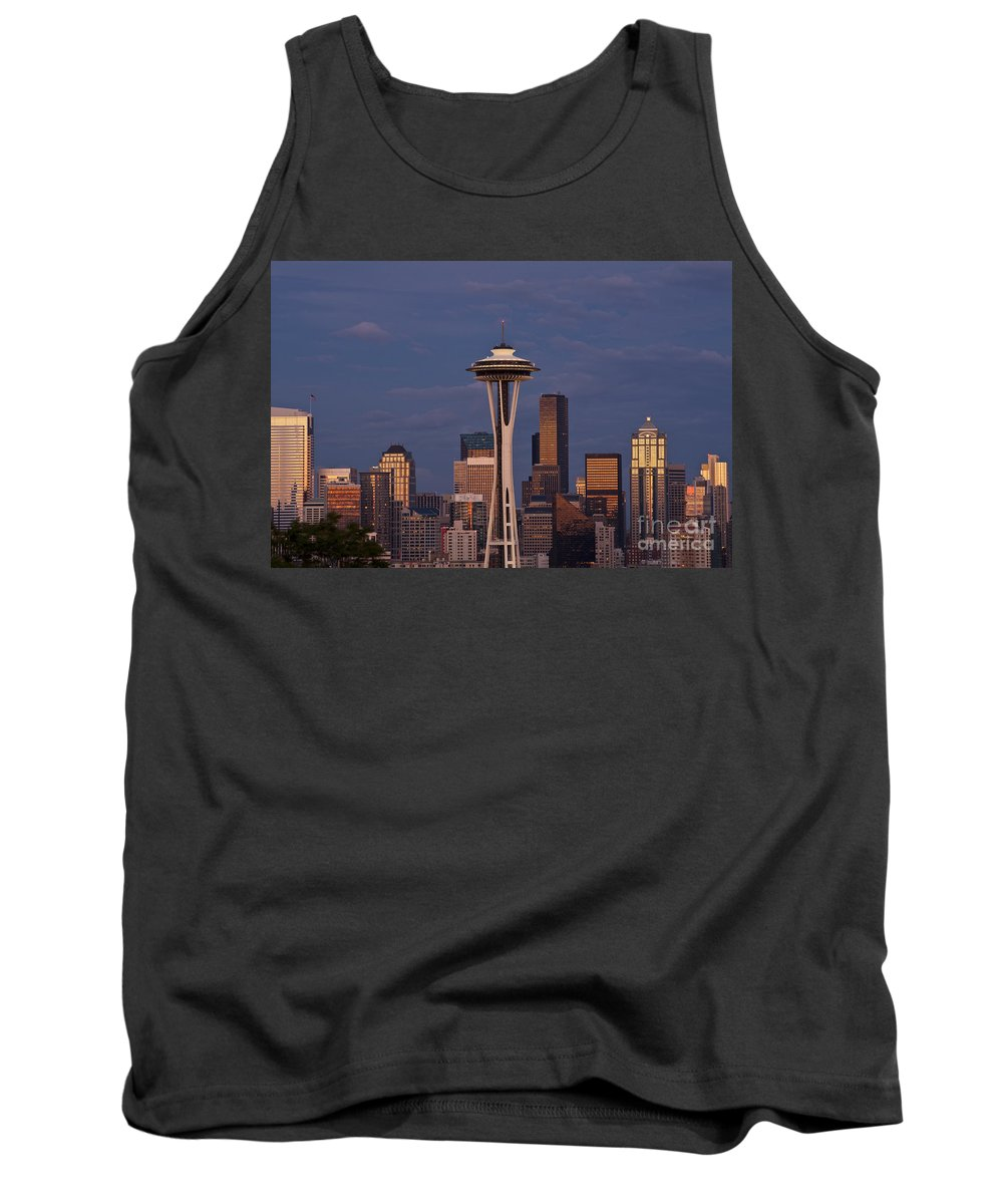 Kerry Park Tank Top featuring the photograph Seattle Skyline And Space Needle With City Lights by Jim Corwin