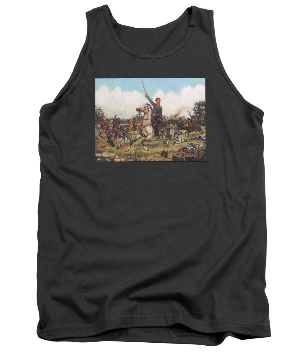 Texas History Tank Top featuring the painting Seguin At San Jacinto by Henry Godines