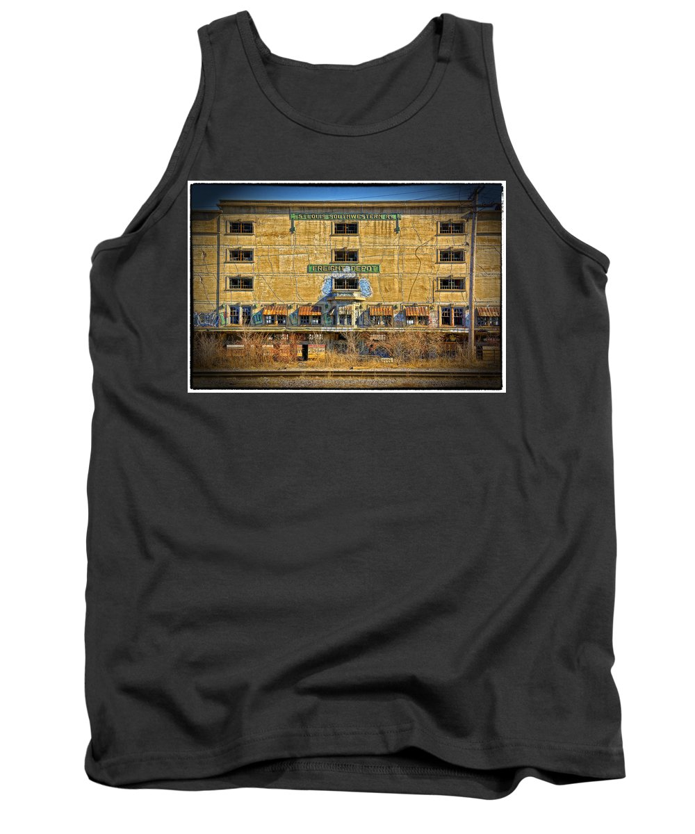 Southwestern Tank Top featuring the photograph Abandoned Southwestern Freight Depot Dsc03080 by Greg Kluempers