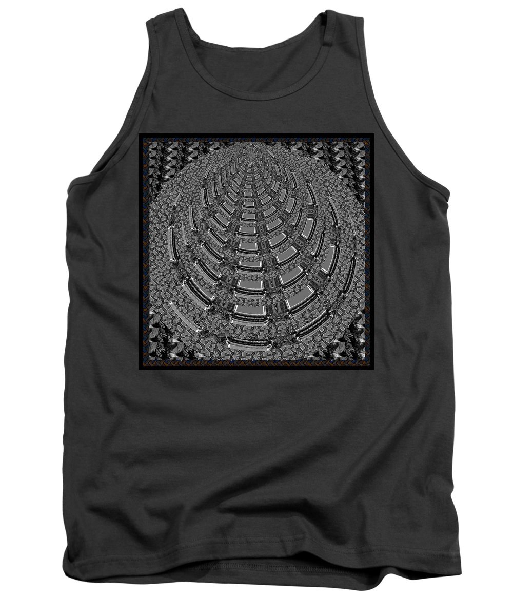 Pyramid Tank Top featuring the mixed media Sparkle Bnw White Pyramid Dome Ancient Arch Architecture Formation Obtained During Deep Meditation W by Navin Joshi