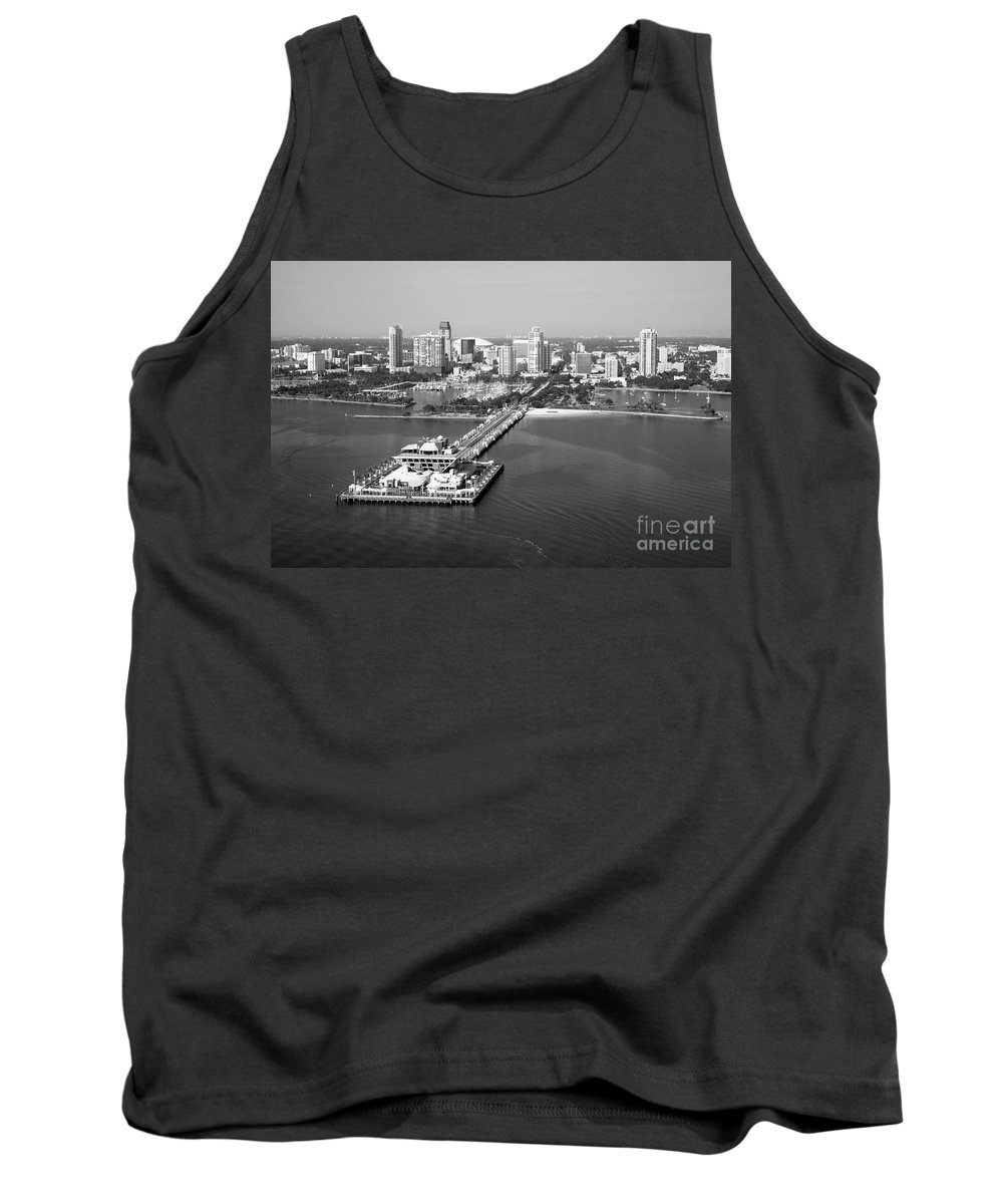 Black And White Tank Top featuring the photograph St Petersburg Skyline And Pier by Bill Cobb